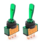 3-PIN 20A/12V Modified Rocker Switches w/ Green Light for Car (2PCS)