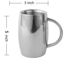 550ml Stainless Steel Coffee Cup Cappuccino Mug - Silvery Grey