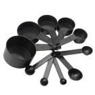 Kitchen Plastic Measuring Scoop Cup Cook Bake Tools - Black (10PCS)