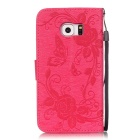 BLCR Butterfly Pattern Case for Samsung Galaxy S6 Edge - Deep Pink