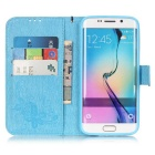 BLCR Butterfly Pattern Case for Samsung Galaxy S6 Edge - Sky Blue