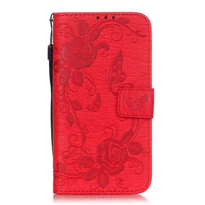 BLCR Butterfly Pattern Case for Samsung Galaxy S6 Edge - Red