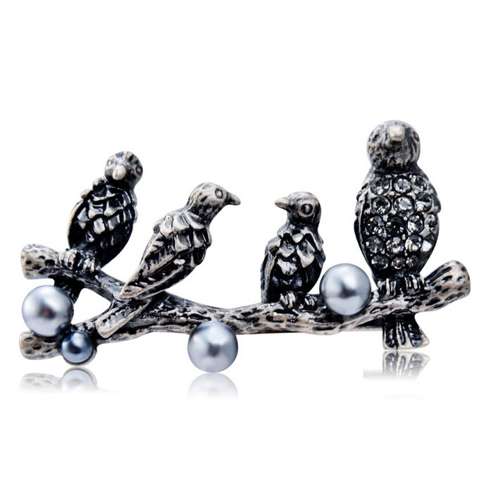 Xinguang Women's Baroque Style Retro Birds Ring - Ancient Silver