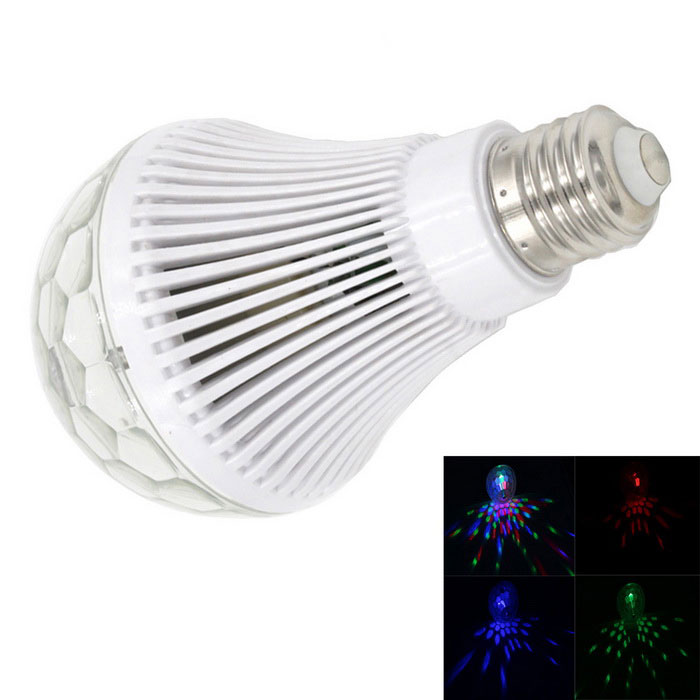 E27 6W 300lm 3-LED Colorful RGB Light Automatic Revolving Deco Bulb