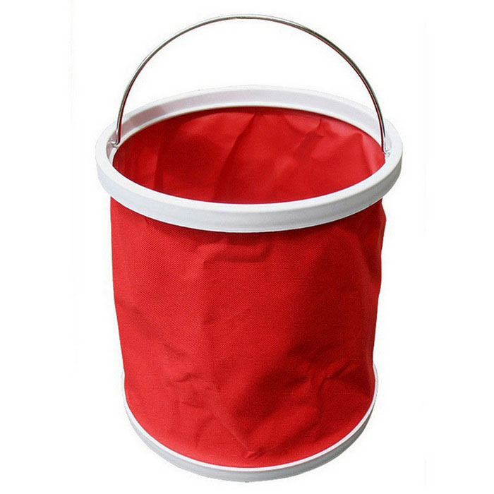 ZIQIAO Portable Folding Fishing Car Bucket Car Washing Bucket - Red