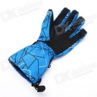 AOTU Men's Geometric Pattern Ski TPU + Fleece Gloves - Blue + Black