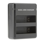 Dual-Slot Battery Charger Kit Carica USB per GoPro 4 - Nero