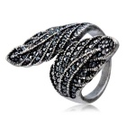 Xinguang Women's Leaf Shape Crystal Ring - Antique Silver (US Size 6)