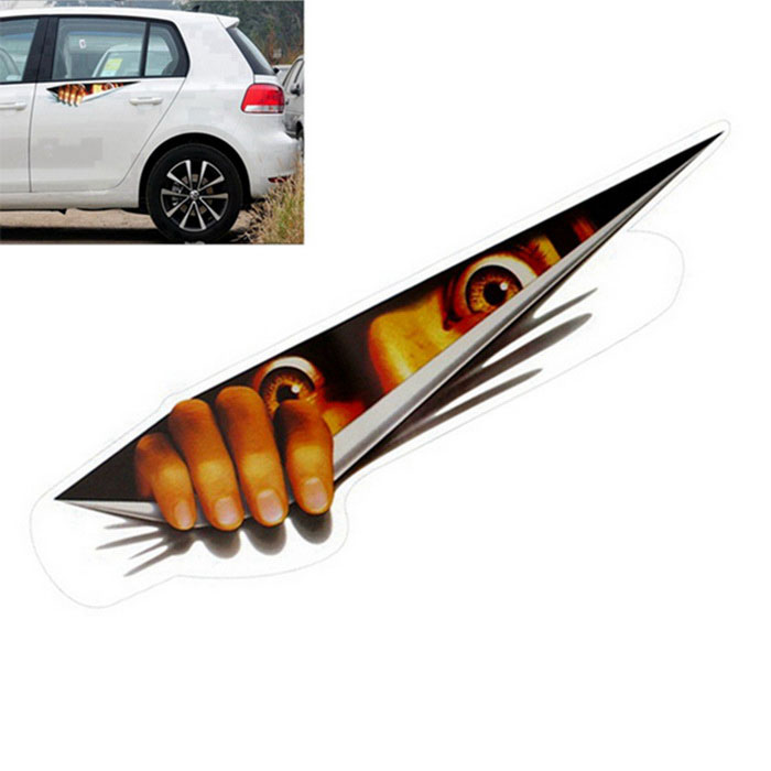 ZIQIAO Funny 3D Eyes Peeking Monster Car Sticker - Brown