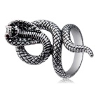 Xinguang Women's Red Eye Snake Shape Crystal Ring - Silver (US Size 8)