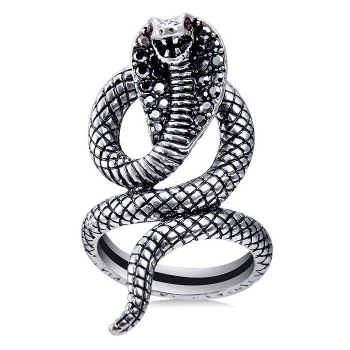 Xinguang Women's Red Eye Snake Shape Crystal Ring - Silver (US Size 7)