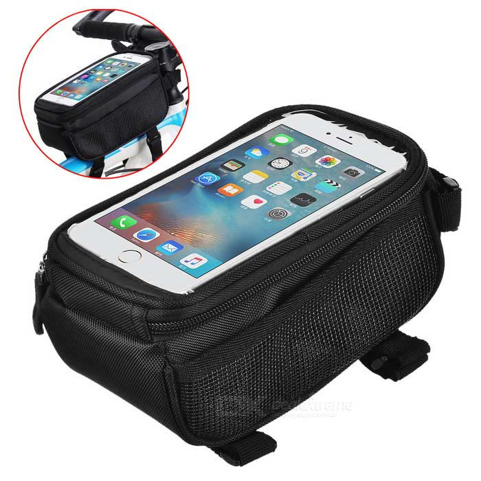 B-SOUL YA0207 Bicycle Top Tube Bag for 5.7 Phone - Black (1.8L)Bike Bags<br>Form  ColorBlack + Black + Multi-ColoredModelYA0207Quantity1 DX.PCM.Model.AttributeModel.UnitMaterialPolyesterTypeOthers,Top Tube BagCapacity1.8 DX.PCM.Model.AttributeModel.UnitWaterproofNoGenderUnisexBest UseCycling,Mountain Cycling,Recreational CyclingCertificationCEPacking List1 * Bicycle Top Tube Bag<br>