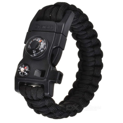 CTSmart Outdoor Multifunctional Survival Paracord Bracelet - Black