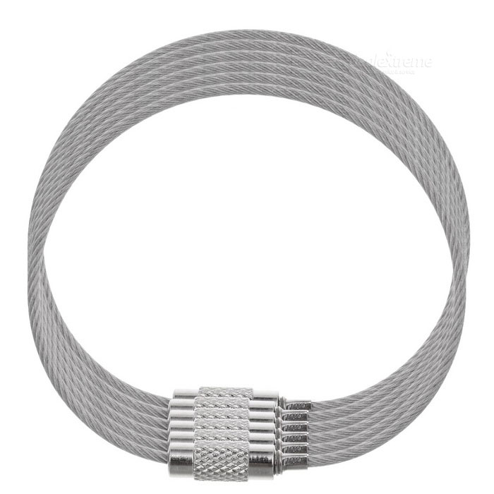 Steel Wire Circle Keychain Set for Mountaineering - Silver (6PCS)