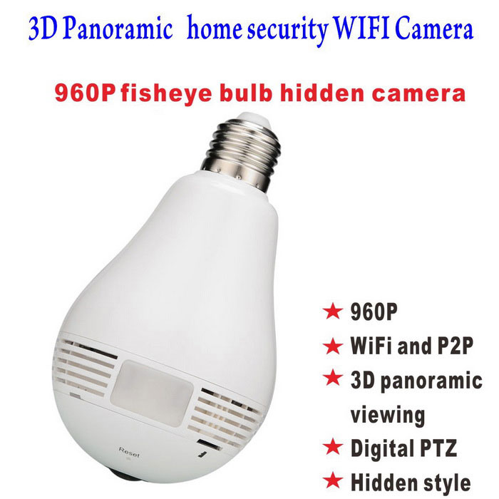 960P Home Monitoring Bulb IP Wi-Fi Camera w/ Lamp LED Panoramic LensIP Cameras<br>Form  ColorWhitePower AdapterE27 / E26 threaded baseModelST-11360DMaterialABSQuantity1 DX.PCM.Model.AttributeModel.UnitImage SensorCMOSImage Sensor SizeOthers,1/3 InchPixels1280 * 1024 (1.3 MP)LensOthers,1.29mmViewing AngleOthers,360 DX.PCM.Model.AttributeModel.UnitVideo Compressed FormatH.264Picture Resolution960PFrame Rate25Input/Output1Audio Compression FormatAACMinimum Illumination0.5 DX.PCM.Model.AttributeModel.UnitNight VisionYesIR-LED Quantity3Night Vision Distance10 DX.PCM.Model.AttributeModel.UnitWireless / WiFi802.11 b / g / nNetwork ProtocolIP,SMTPSupported BrowserOthersSIM Card SlotNoOnline Visitor3IP ModePPPoE,OthersMobile Phone PlatformAndroid,iOSFree DDNSYesIR-CUTYesLocal MemoryYESMemory CardSD /TF CardMax. Memory Supported128GBMotorNoRotation Angle360Zoom3XSupported LanguagesEnglish,Simplified Chinese,Others,JapeneseWater-proofNoRate VoltageAC100-240VIntercom FunctionYesPacking List1 * User manual1 * E27 adapter (lengthen)1 * Reset needle1 * Camera<br>