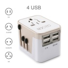 Worldwide Travel UK + UE + AU + US Adaptador de enchufe USB de 4 puertos USB - Blanco + Champaign