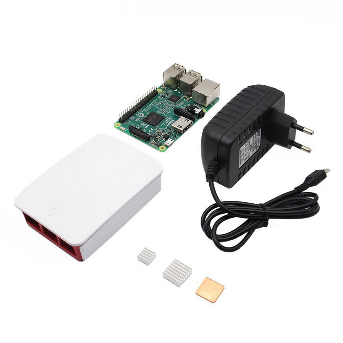 Raspberry Pi 3 Model B + Official Case + 5V 2.5A Plug + Heatsink KitRaspberry Pi<br>Form  Color4-in-1 Kit - EU PlugModel-Quantity1 DX.PCM.Model.AttributeModel.UnitMaterialPVC + semiconductorChipsetBCM2837English Manual / SpecYesDownload Link   http://www.raspberrypi.org/forums/Packing List1 * Raspberry Pi 3 Model B1 * 2.5A Plug(90cm length cable)1 * Official case 2 * Aluminum heatsinks1 * Copper heatsink<br>