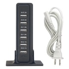 30W 6 USB Ports 6A 100~240V USB Power Socket - Black (US Plugs)