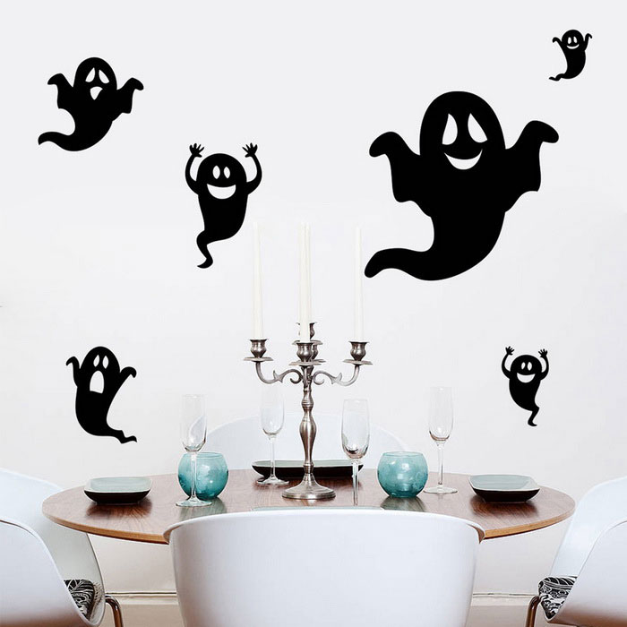 Removable DIY 3D Ghost Wall Sticker - BlackWall Sticker <br>Form ColorBlackShade Of ColorBlackMaterialPVCQuantity1 DX.PCM.Model.AttributeModel.UnitStyleOthers,HalloweenDimension37*57 DX.PCM.Model.AttributeModel.UnitPacking List1 * Halloween Wall Stickers<br>
