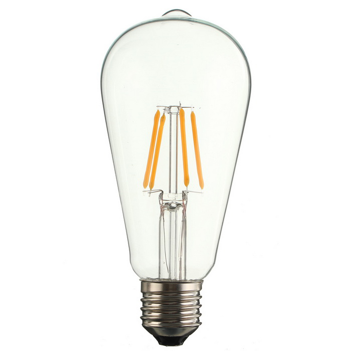 E27 ST64 Edison vintage 4-COB Lâmpada LED Warm White Non-dimmable 2700K