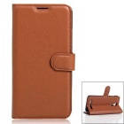 PU Leather Wallet Cases w/ Stand / Card Slots for HOMTOM HT17 - Brown