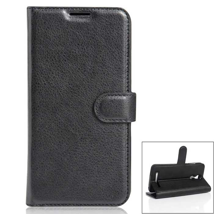 PU Leather Wallet Cases w/ Stand / Card Slots for HOMTOM HT17 - Black