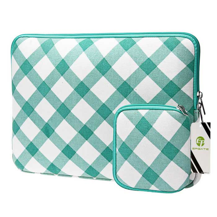 "EPGATE Laptop Sleeve Bag + Power Bag for 13.3"" Laptop - Green + White"