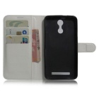 PU Leather Wallet Cases w/ Stand / Card Slots for HOMTOM HT17 - White