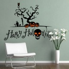 Removable DIY 3D Halloween Skull Decorative Wall Sticker - Black
