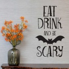 Removable DIY 3D Halloween Bat Alphabet Wall Sticker - Black