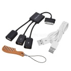 BSTUO 1 to 3-Port USB 2.0 OTG Cable Hub for Samsung Galaxy Tab - Black