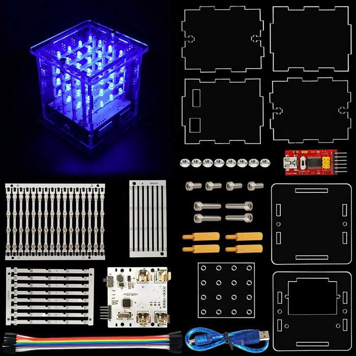 TS-68 4*4*4 LED Cube Light Kit with for Arduino Diffuse Blue Light