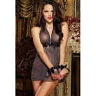 Sexy Perspective Net Yarn Bowknot Belt Nightgown - Black