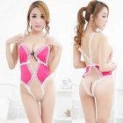 Europe / America Style Open Files Sexy Lace Lingerie - Pink + White