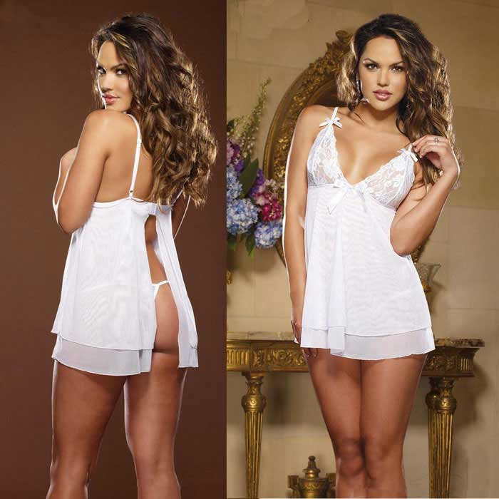 Europe Style Sexy Lace Decorated Bowknot Slip Dress Lingerie - White