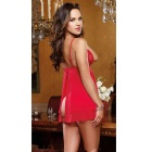 Europe Style Sexy Lace Decorated Bowknot Slip Dress Lingerie - Red