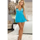 Europe Style Sexy Lace Decorated Bowknot Slip Dress Lingerie - Blue