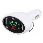 VST Car Voltmeter / Thermometer / Dual USB Charger - White (12~24V)