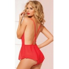 Big Net Yarn Perspective Sexy Polyester Lingerie - Red