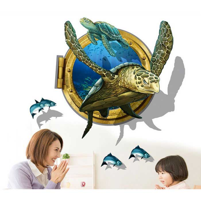 Removable DIY 3D Sea Turtles Decorative Wall Stickers - BlueWall Sticker <br>Form  ColorBlue + Yellow + Multi-ColoredShade Of ColorBlueMaterialPVCQuantity1 DX.PCM.Model.AttributeModel.UnitStyleContemporaryDimension60 * 90 DX.PCM.Model.AttributeModel.UnitPacking List1 * Wall Sticker<br>