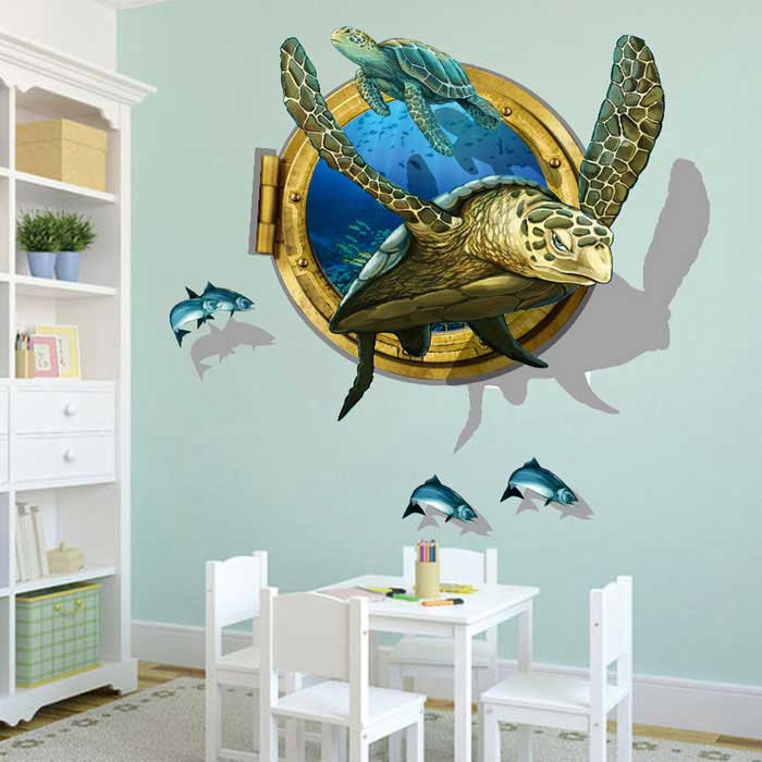 Star Wars Boy Bedroom Kids Bedroom Boy Bedroom Decor Black And Silver Luxury Black And White Bedroom: Removable DIY 3D Sea Turtles Decorative Wall Stickers