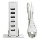 30W 6 USB 6A 100~240V Rectangular USB Socket - White (EU Plug)