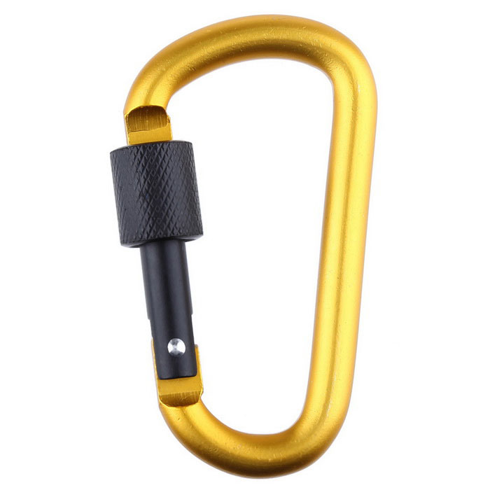 Outdoor D-type Overstriking Aluminium Alloy Safety Buckle - Gold