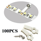 100 Lots 10mm Strip Light Mounting Brackets + 100 PCS Fixing Screw Set