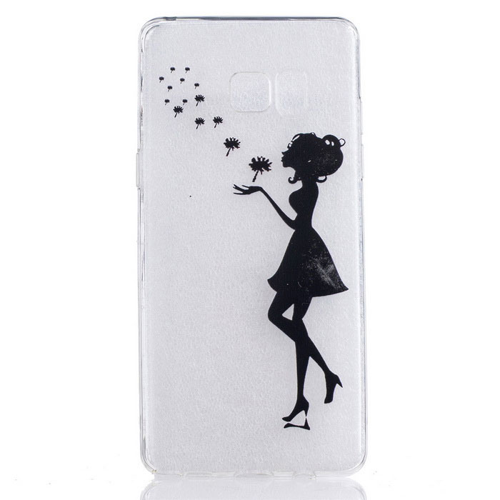 Girl Pattern TPU Back Case for Samsung Galaxy Note 7 - Transparent