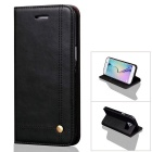 Premium PU + TPU Flip Wallet Case for Samsung Galaxy S7 Edge - Black