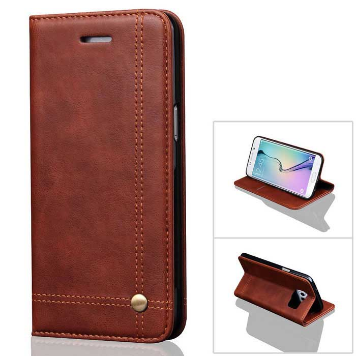 Premium PU + TPU Flip Wallet Case for Samsung Galaxy S7 Edge - Coffee
