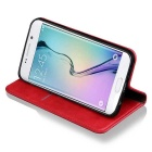 Premium PU + TPU Flip Wallet Case for Samsung Galaxy S7 Edge - Red