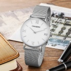 CAGARNY Roman Numerals Stainless Steel Wristband Quartz Watch - White