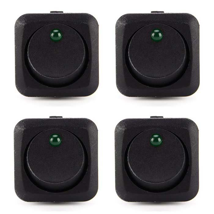 IZTOSS 12V 25A LED Illuminated Round Rocker On/Off Switches (4PCS)